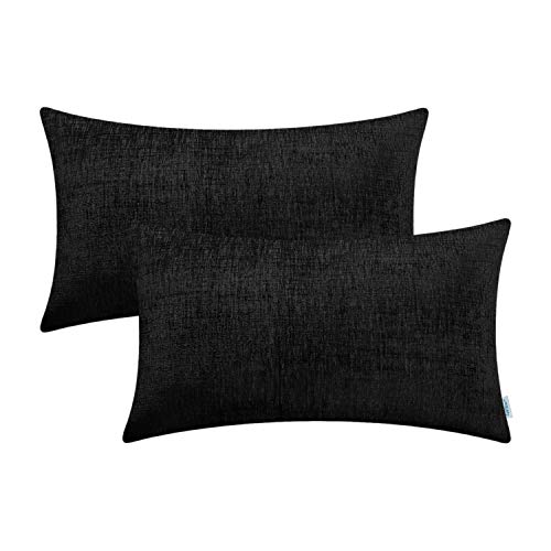 CaliTime Pack of 2 Cozy Bolster Pillow Covers Cases for Couch Sofa Home Decoration Solid Dyed Soft Chenille 12 X 20 Inches Black