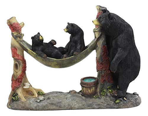 ShopForAllYou Figurines and Statues Mother Black Bear with Cubs in Outpost Camping Hammock Statue Wildlife Forest