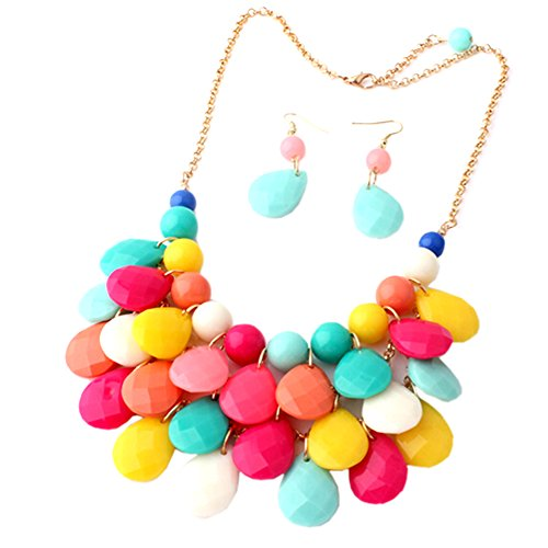 Easykan Women's Alloy Chain Acrylic Chunky Statement Bib Necklace (Multi-color) 18 (Daisy And Peach Halloween Costumes)
