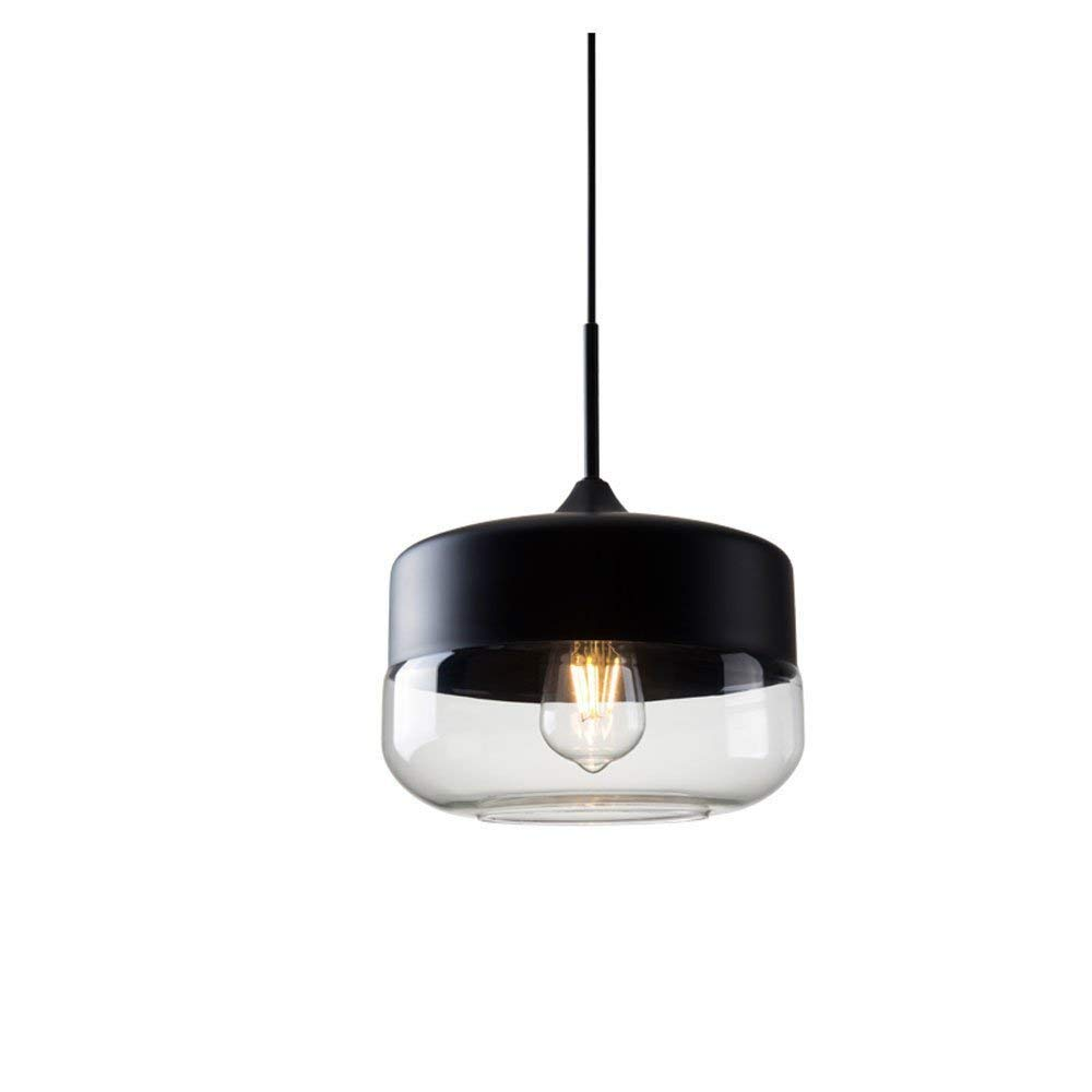 Lampe de bar en verre créative Restaurant Lustre en verre Personnalité de la conception européenne Lustre à la mode Café Luminaire (Couleur  Noir-Style B) ●