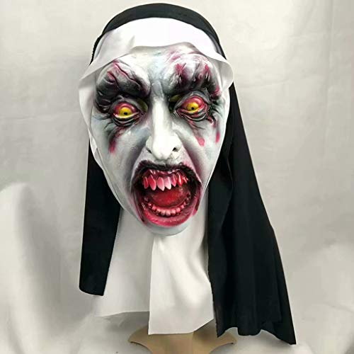baoshihua The Nun Valak Mask Latex Scary Full Head Halloween Creepy Mask Halloween Cosplay Costume Accessory
