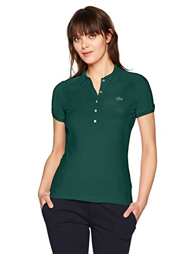(Lacoste Women's Classic Short Sleeve Slim Fit Stretch Pique Polo, PF7845, Box, 18)
