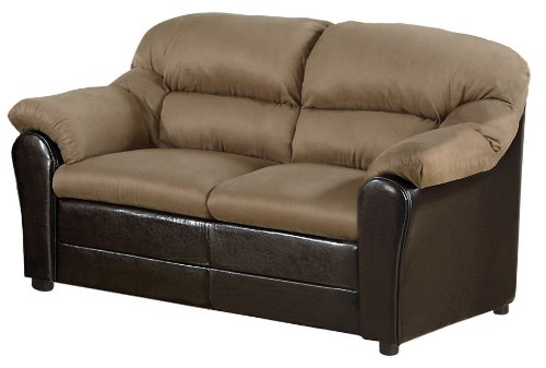 Acme 15141A Connell Loveseat, Saddle Microfiber and Espresso Polyurethane Finish