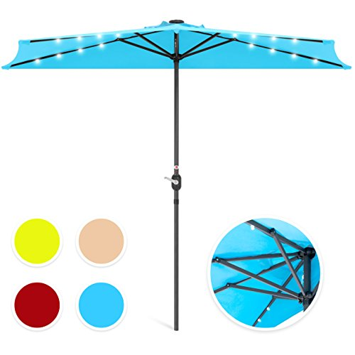 Best Choice Products 8.5ft Solar LED Half Umbrella for Backyard, Patio, Porch w/Easy Crank, Wind Vent, Panel, Light Blue