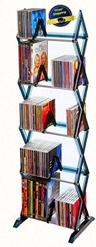 Rack CD DVD Storage Organizer Shelf High Tower Cabinet Stand Multimedia Game NEW by WarU Home