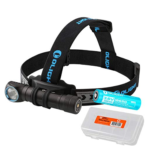 Olight H2R Nova 2300 Lumens LED Rechargeable Headlamp - Available in Neutral White or Cool White LED & LumenTac Battery Organizer (Cool White)