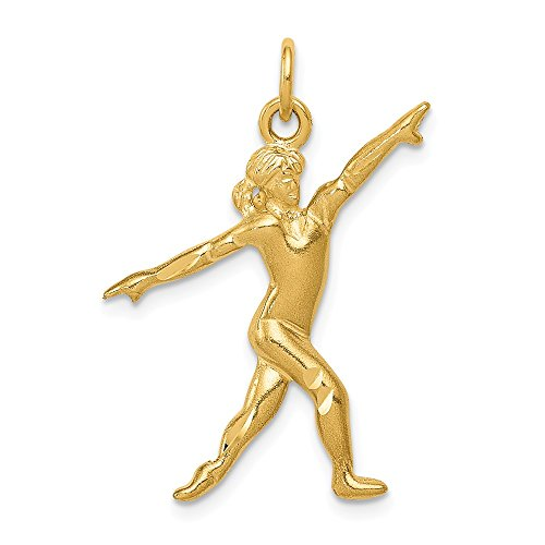 14k Yellow Gold Gymnast Charm Pendant 14k Gold Gymnastics Charm