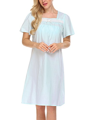 Ekouaer Women's Victorian Sleepwear Comfort Casual Loungewear Short Sleeve Nightgown (Clear (Sleeve Knee Length Nightgown)
