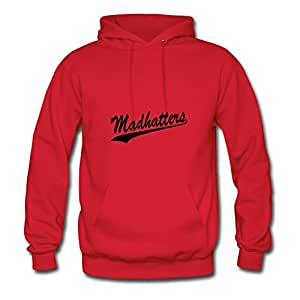 Casual O-neck Madhatters Cotton Hoody X-large Women Red
