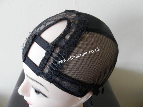 Medium Black Left U Part Wig Cap with Adjustable Band. (Left Part Wig)