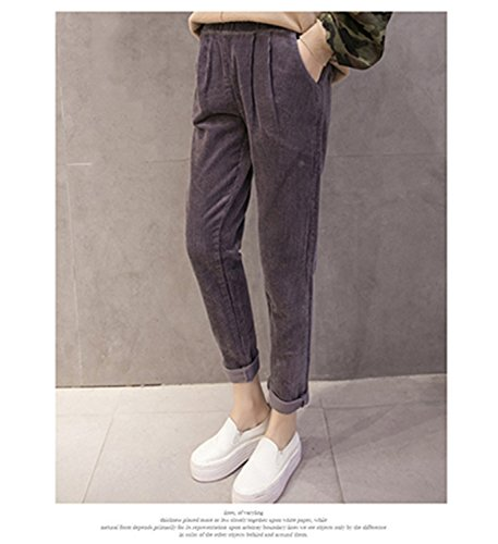 Dormery Casual Corduroy Pants Elastic Waist Plus Size Korean Loose Capris Solid Cotton Pleated Harem Pants B7N009Z Gray XXL by Dormery Pants