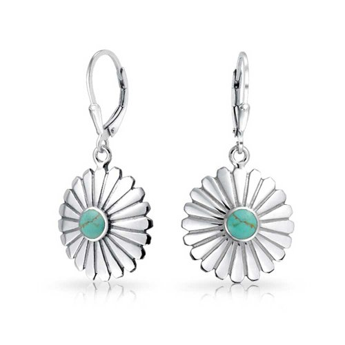 (Native American Style Craved Petal Flower Blossom Stabilized Turquoise Leverback Dangle Earrings Women Sterling Silver)