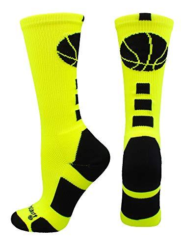 MadSportsStuff Basketball Logo Athletic Crew Socks, Small - Neon Yellow/Black