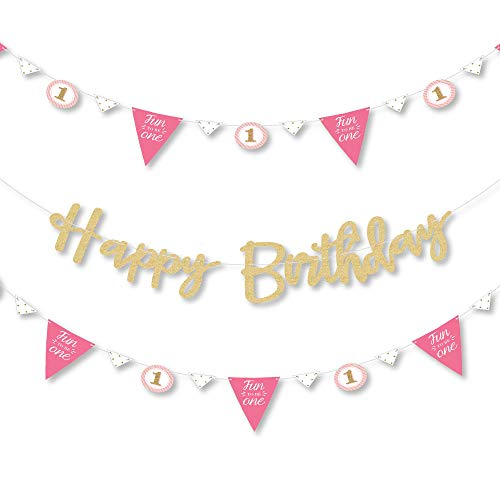 Big Dot of Happiness 1st Birthday Girl - Fun to be One - First Birthday Party Letter Banner Decoration - 36 Banner Cutouts - No-Mess Real Gold Glitter Happy Birthday Banner Letters ()