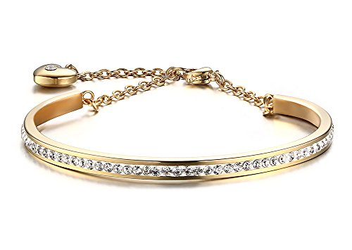 Stainless Steel A Row of Crystal Thin Bangle Bracelet with Extend Chain for Women, Gold Plated 10k Gold Set