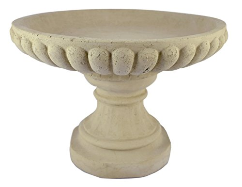Modern Artisans American Made Low-Profle English Style Cast Stone Garden Birdbath, 19x13