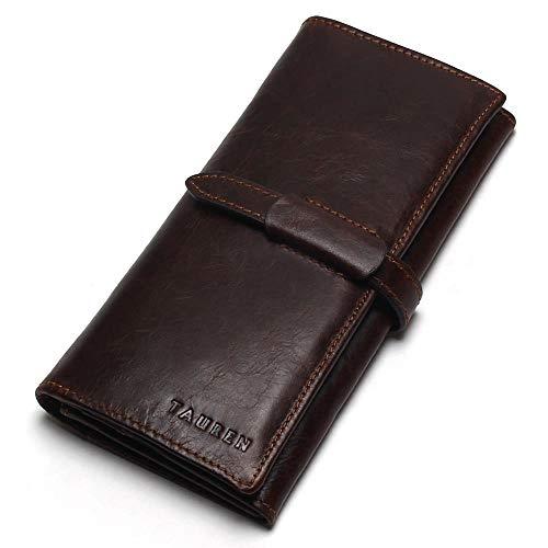 Wallet for Men Genuine Leather RFID Vintage Men's Long Wallet Coin Purse (Brown)