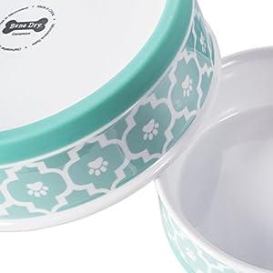 "DII Bone Dry Lattice Ceramic Pet Bowl for Food & Water with Non-Skid Silicone Rim for Dogs and Cats (Medium - 6"" Dia x 2""H) Aqua - Set of 2"