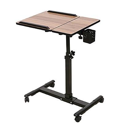 Adjustable Rolling Mobile Laptop Computer Table Desk Cart Thomas