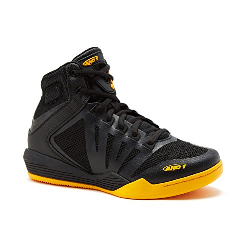 AND1 Kids Overdrive Lace Up Basketball Shoe Sneaker 4 M US Big Kid Black/Black/Gold