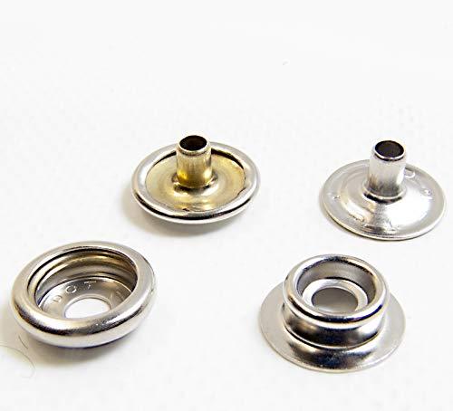 Snap Fastener Set, Nickel Plated Brass, Marine Grade, 10 Pc. Pack ()