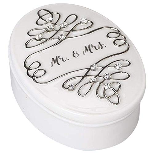 Mr. & Mrs. White With Jewel Tone Accents 3 x 2 Porcelain Wedding Rosary Holder]()