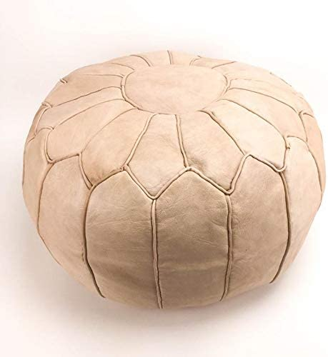 Moroccan Craft House, Moroccan Ottoman Pouf, Premium Leather Pouf, Genuine Leather Poufs, Ottoman Luxury Pouf - Delivered UNSTUFFED / No Smell