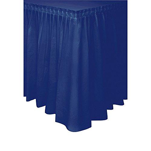 Navy Blue Plastic Table Skirt