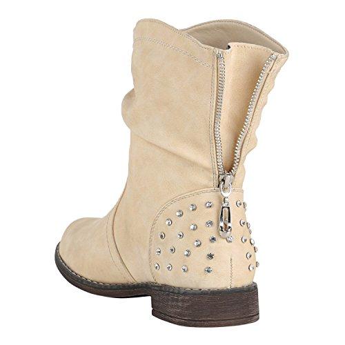 Stiefelparadies Damen Stiefeletten Schlupfstiefel Zipper Schuhe Leicht Gefütterte Stiefel Flandell Creme Strass