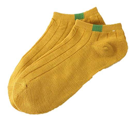 TGCZNJM Elastic Breathable Sock 1Pair Unisex Comfortable Stripe Cotton Sock Slippers Short Ankle Sock Slippers Yellow One ()