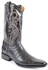 3a9ee2140de Mens Western Style Gator Skin Boot Black Square Toe Review ...