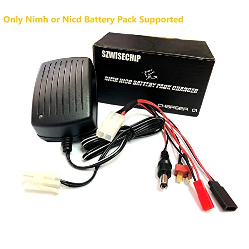 Nimh, Nicd Battery Pack Smart Fast Charger 3~9 Cells (3.6V, 4.8V, 6V, 7.2V, 8.4V, 9.6v,10.8V) for Airsoft Packs, Toy RC (Radio-Controlled) Model Cars, Hobby, Boats, Aircraft Batteries, Leads in Pack