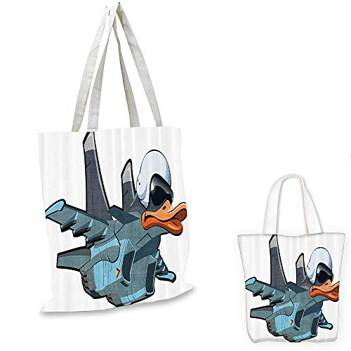Airplane Decor Collection easy shopping bag Jet Bird Angry Comic Aircraft Army German Pilot Helmet Duckling Funny Character Image emporium shopping bag Grey White. 12
