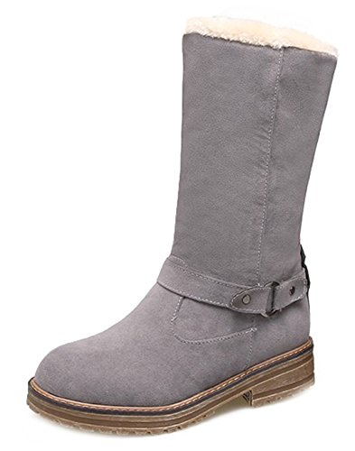 Top Faux Chunky Women's Heels Calf Shoes Mid Casual Aisun Boots Low Gray Suede EqzyxcwcCX
