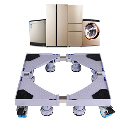 AmazeFan Movable Base Heavy Duty Mobile Multi-Functional and Adjustable Furniture Carrier with Pulleys for Washing Machine, Refrigerator&Dryer ...