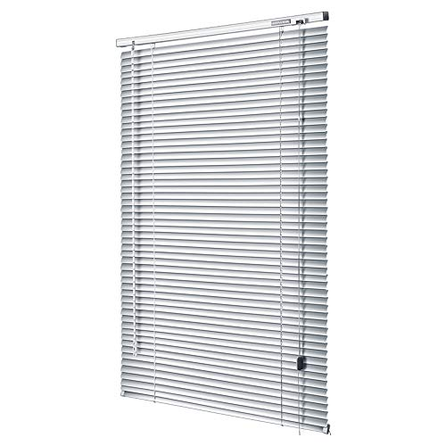 AQAWAS Cordless Blinds for Windows, Vinyl Horizontal Privacy Shade, Easy Install Blinds Cordless Mini Blinds, for Steel Metal Door Windows,White_22x60in/57.5×152.5CM