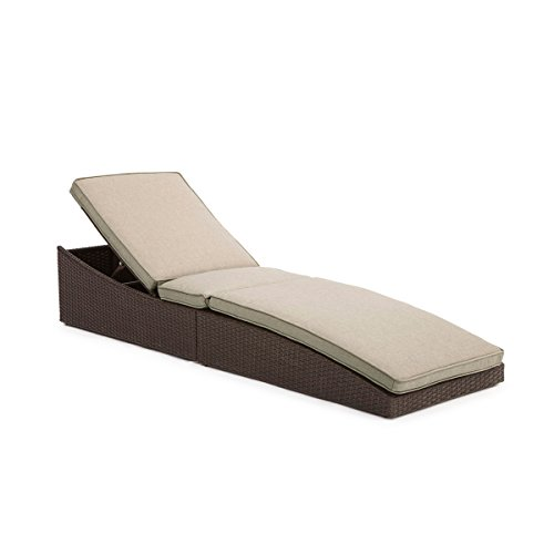 Yardbird Furniture Folding Wicker Chaise Lounge with Sand Color Cushion