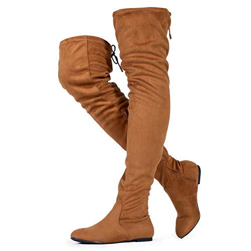 RF ROOM OF FASHION Women's's Faux Suede Fitted Flat to Low Heel Over The Knee High Boots Camel (6.5)