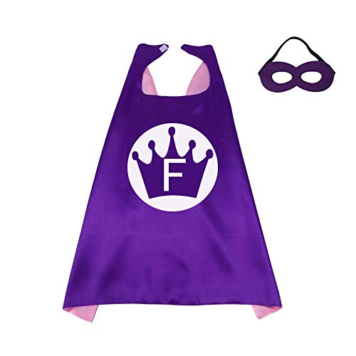 RANAVY Superhero Capes for Kid Family Birthday Parties 26 Letters 10 Numbers Initial Boys/Girls Purple/Pink 27