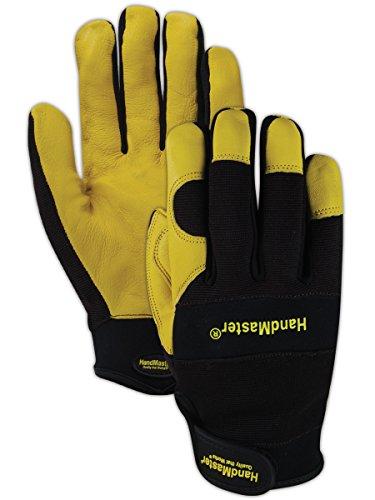 Magid Glove & Safety MECH105M HandMaster MECH105 Sheepskin Leather Palm Mechanics Gloves, Full Finger, Medium, Brown - Finger Sheepskin Leather Glove