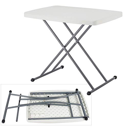 (Modern-Depo Personal Folding Table | Adjustable Study Portable TV Tray Desk Sewing Laptop Desk w/HDPE Top Powder Coated Iron Frame, 30