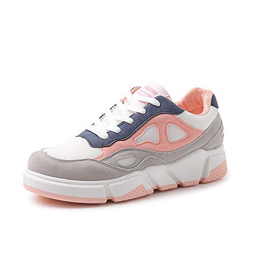 Zapatos Casuales de Las Mujeres Zapatillas de Deporte 2018 Primavera, Otoño Zapatos para Correr con la Parte Superior Baja Zapatos Deportivos de Fondo Grueso Zapato (Color : Negro, tamaño : 37) Rosado