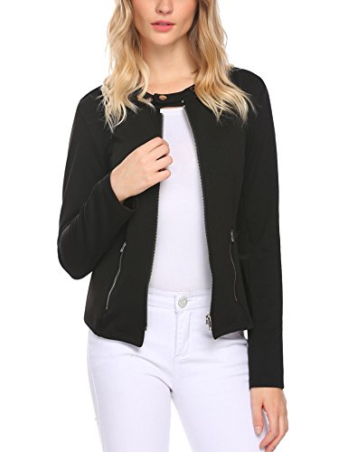 SE MIU Slim Fit Lightweight Full Zip Blazer Jackets Coat With Pockets Black (Zip Pocket Blazer)