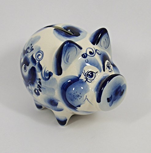 Russian Gzhel Porcelain Figurine #2004 Piggy Bank.2019 - Year of the Pig