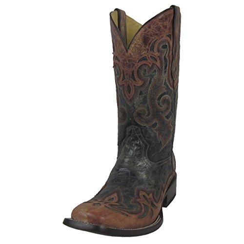 Innhegningen Menns Svart Med Cognac Overlegg Firkantet Tå Cowboy Boots G1203