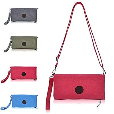 Canvas Clutch Purse,Women Clutch Wallet,Wrist Bag with Crossbody Strap