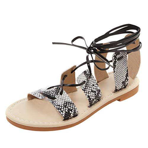TOTOD 2019 New Flat Sandals - Ankle Cross Straps Sandals Fashion Snake Pattern Bottom Europe US Large Size Women's Shoes White