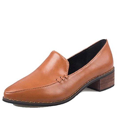 Allhqfashion Womens Pu Fermé-orteil Talons-bas Pompes Pleines-chaussures Jaune