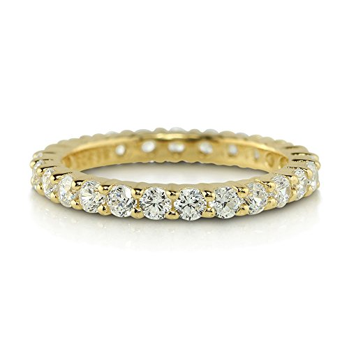 BERRICLE Yellow Gold Flashed Sterling Silver Cubic Zirconia CZ Anniversary Eternity Band Ring Size 7