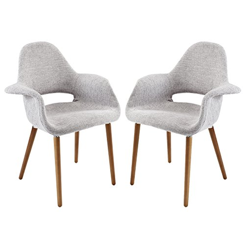 Asian Modern Furniture - Modway Aegis Mid-Century Modern Upholstered Fabric Organic Two Dining Armchair Set With Wood Legs In Light Gray